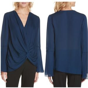 Cinq A Sept Twist-front Silk Crepe De Chine Blouse